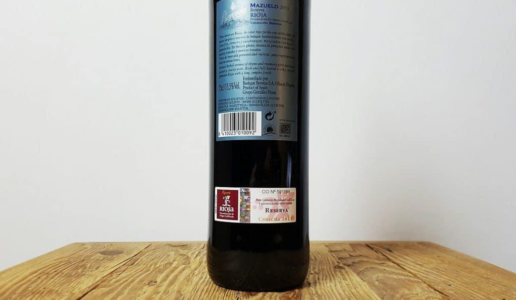 Rioja Beronia 2011 Etikett
