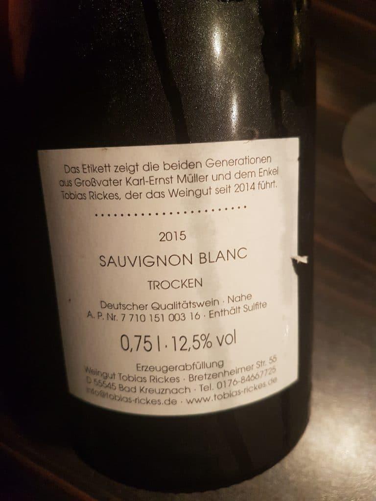 Tobias Rickes Sauvignon Etikett