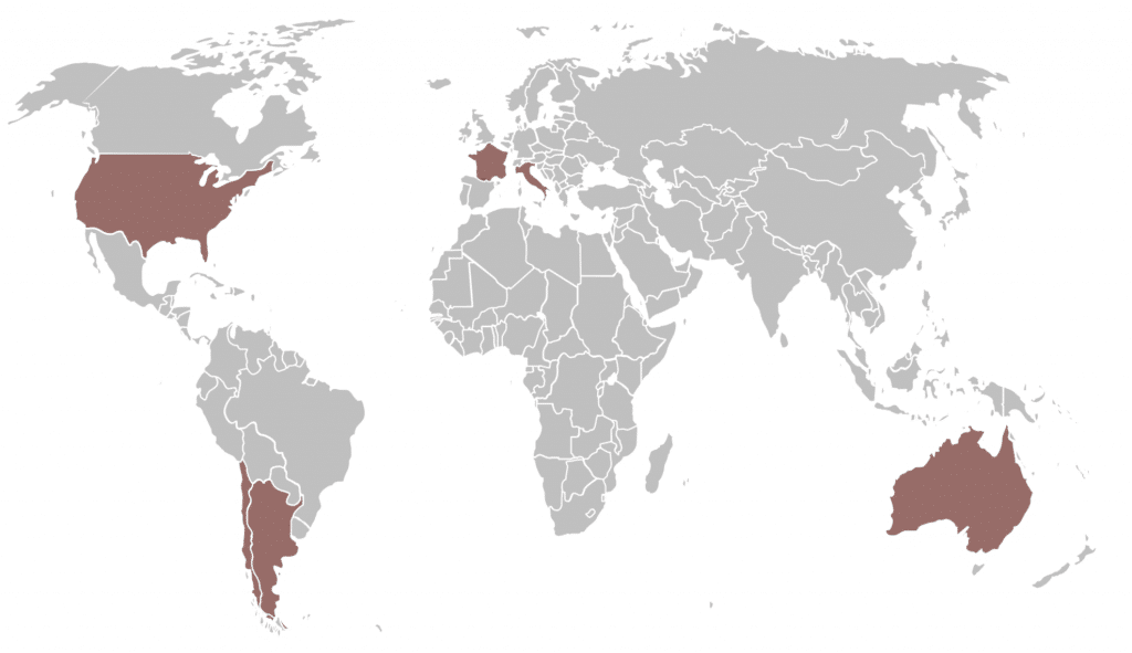 Merlot Anbaugebiete weltweit Karte